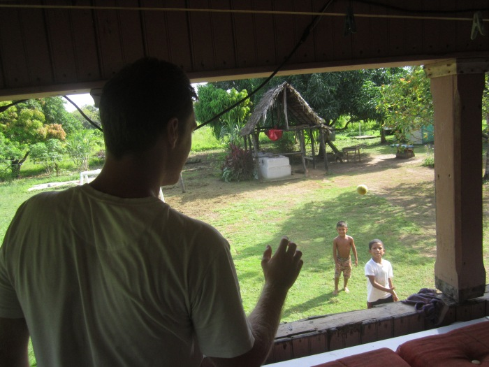 Playing catch with the locals